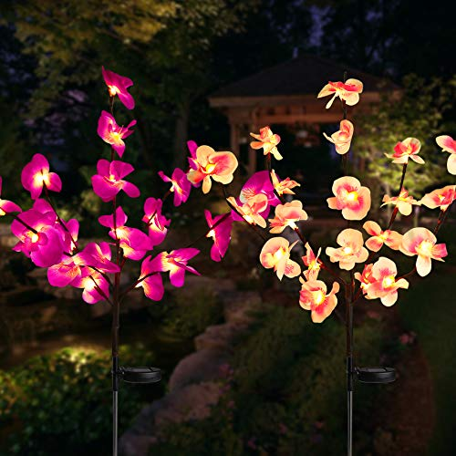 Solar Garden Flower Lights, Upgraded Waterproof Solar Orchid Lights Outdoor with 40 Flower, 2 mode Decorative Lights Bigger Solar Panel for Patio Yard Patio Pathway Decoration (2 Pack,Purple and Pink)