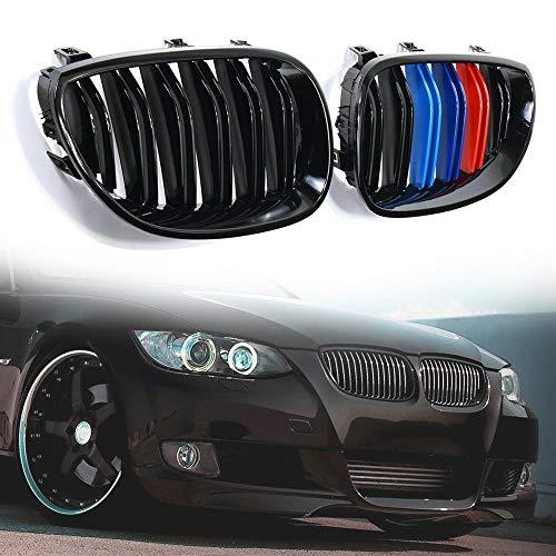 WYYYFA Front Kühlergrille Für BMW E60 E61 5er 2003-2010, Auto glänzend schwarz M-Farbe Front Nierengitter Grill 33 x 19 x 5,9 cm Sport Style Grill