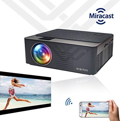 "Visitek V6 Miracast HD 720p (1080p Support) | 3300L (390 ANSI) with 210 "" (5.3m) Large Display LED Projector | AV, VGA, 2XHDMI, USB, mSD, Audio Out, WiFi for Casting only | ( V45V62 ) ( Black )"