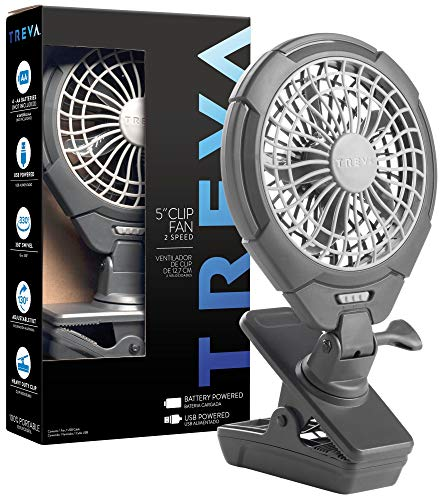 Treva 5 Inch Battery Powered Clip Fan - Slim and Portable Cooling Travel Fan with USB - Clamp for Bed, Office Desk, Camping, Car, Baby Stroller - Multi-Directional Rotating and Adjustable Head, Gray