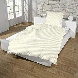 Dreamhome Hotel Damast Streifen Bettwäsche 135x200 + 80x80 Kissenbezug Bettbezug für Bettdecke Steppdecke mit Baumwolle Farbe: BEIGE, Größe: REIßVERSCHLUSS