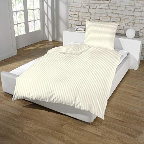 Dreamhome Hotel Damast Streifen Bettwäsche 135x200 + 80x80 Kissenbezug Bettbezug für Bettdecke Steppdecke mit Baumwolle Farbe: BEIGE, Größe: HOTELVERSCHLUSS