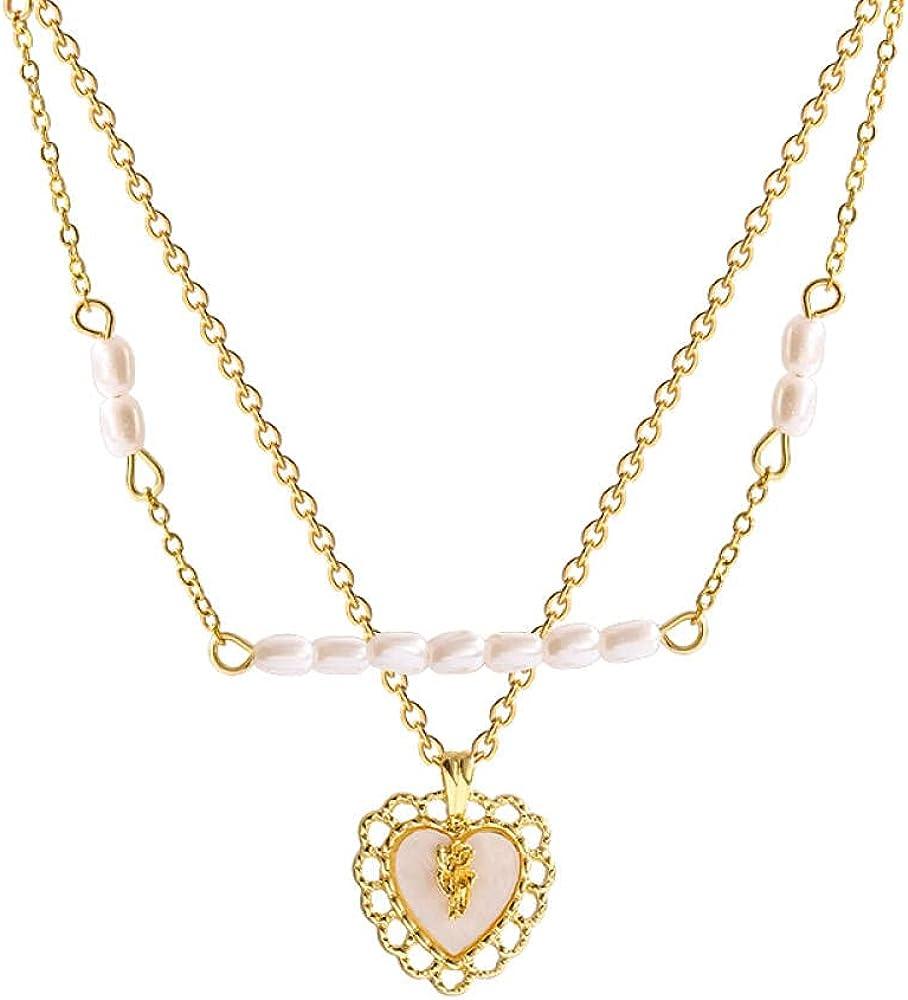 Choker Titanium Steel Love Heart Super Flash Zircon Pendant Neck