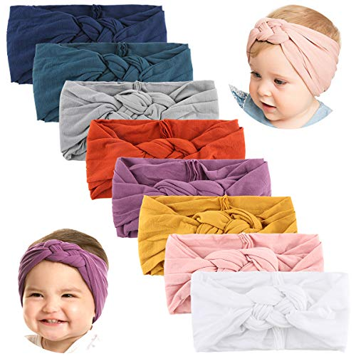 Makone Baby Headbands with Bows-Handmade Stretchy Nylon Pom Pom Bun 5.5 inch Big Hair Bow Headband for Infant Baby Girls-Style11
