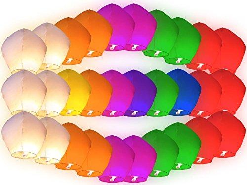 Lot de 30 lanternes en papier de plusieurs couleurs