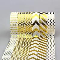新しい6×15ミリメートル金セット紙テープ金箔印刷クラフトスクラップブッキングDIY装飾マスキング和紙テープ紙ロット10メートル