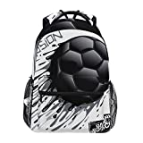 Tinta Fútbol Negro Fútbol Mochila Escolar Impermeable Mochilas Escolares para Estudiante Adolescentes Niñas Niños