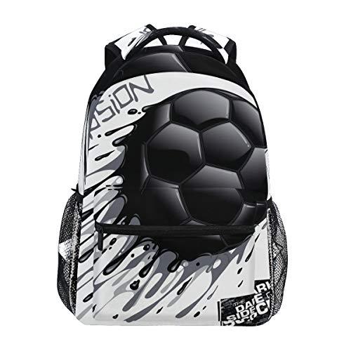 Tinta Fútbol Negro Mochila Escolar Impermeable Mochilas Escolares para Estudiante Adolescentes