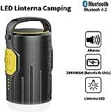 UPPEL Linterna Camping,Altavoces Bluetooth Portatiles con Bluetooth 4.2+Altavoz+200 Lúmenes Lampara Camping+10400MAH Banco de Energía+Carga USB 5 en 1 Diseño Multifuncional Luz Camping(Negro)