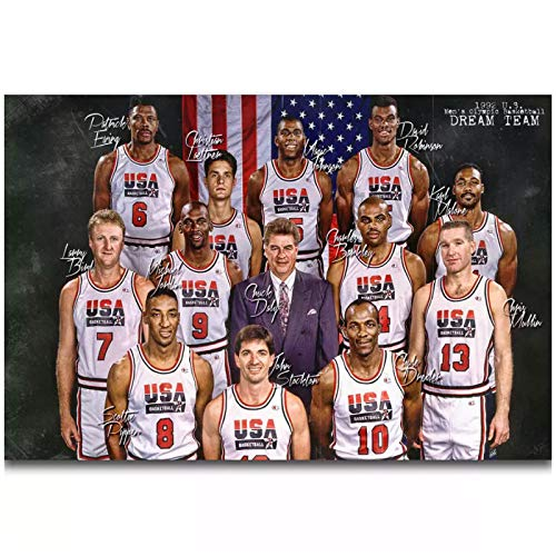 ASLKUYT 1992 USA Dream Team Micheal Magic Johnson Wall Art Painting Print On Canvas Poster Home Decoration-24x32 in No Frame