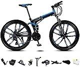 Bicicleta de montaña de 24 pulgadas, unisex, plegable, de velocidad variable, para hombres y mujeres, con doble disco, freno azul ajustable