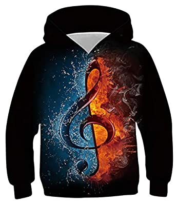 Boy's Music File Flame Pullover Hoodies Graphic Sweatshirts Top Jumper Sweater Tee Shirts Fall Spring Winter Clothes Size 8-11T