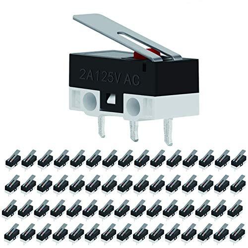 VISSQH 60 pcs Interruptor micro de limite, Momentáneo Interruptor Palanca de Bisagra,micro interruptor, SPDT 1 NO 1 NC Mini Interruptor de Palanca para Arduino