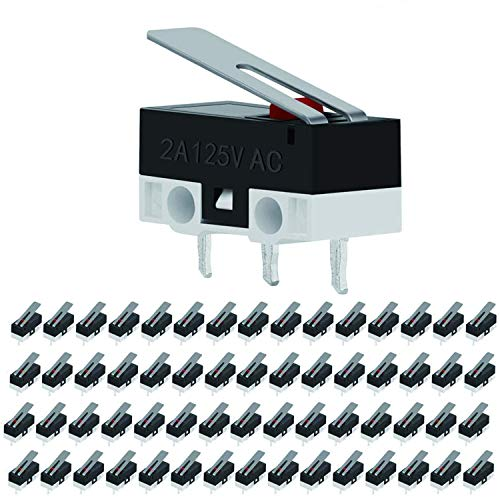 VISSQH 60 Stück Micro Switch,Micro Switch 3 pin,SPDT NC+NOendschalter 12v,AC 2 A 125 V Scharnierhebel Mikro Schalter, Momentane endschalter micro für Arduino