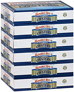 BUMBLE BEE Fancy Smoked Oysters, 3.75 Ounce Can (Pack of 6), Oysters Canned, High Protein, Keto Food and Keto Snacks, Gluten Free, Canned Food