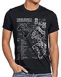 style3 PS1 Gamer Controlador Camiseta para Hombre T-Shirt PS Videojuego videoconsola, Talla:3XL, Color:Negro