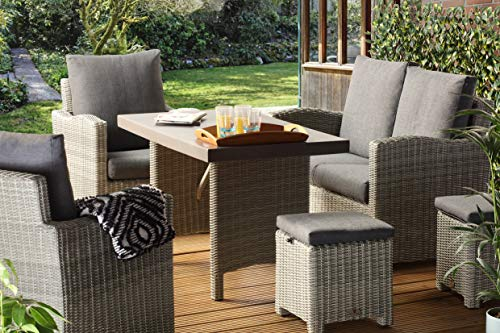 Desser Georgia Grey Rattan Outdoor Garden Patio Furniture Lounge Dining Set – Luxury Wicker Sofa, Chairs & Poly Fibre Table Suite