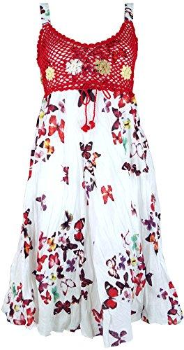 GURU SHOP Minikleid, Sommerkleid Schmetterling, Krinkelkleid, Damen, Weiß/rot, Synthetisch, Size:38, Kurze Kleider Alternative Bekleidung