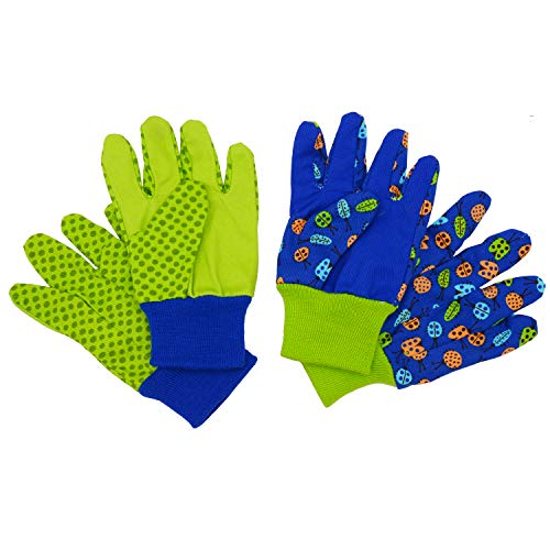 Kids Gardening gloves for age 5-6, age 7-8, 2 Pairs Cotton Garden Working Gloves for girls boys, Dot & Butterfly & Ladybird Print (Medium (age 7-8), Green (ladybird+ dot))