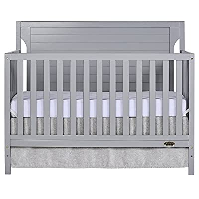 Dream On Me Cape Cod 5-in-1 Convertible Crib in Pebble Grey, Greenguard Gold Certified by Dream on Me Dropship