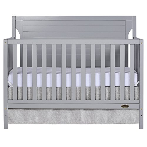 Dream On Me Cape Cod 5-in-1 Convertible Crib in Pebble Grey, Greenguard Gold Certified