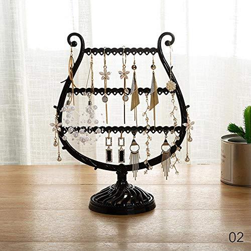 Pendientes creativos con forma de copa de vino, pulsera y estante de almacenamiento para joyas, soporte para orejas, organizador de joyas de árbol de cuernos (color negro)