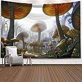 WERT Cuento de Hadas fantasía Tapiz Colgante de Pared Alfombra psicodélica Enorme Castillo de Setas brujería decoración de la habitación de los niños Tapiz de Pared A5 130x150cm