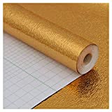 LEISHENT Shelf Liner Durable and Strong Self-Adhesive Easy to Cut Easy to Install for Home and Kitchen,Refrigerator Liner,Cupboard,Shoe Rack,Gold,60mX50m