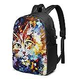 Mochila de pintura al óleo para gatos, mochila de viaje con puerto de carga USB para hombres y mujeres de 17 pulgadas - negro - talla única