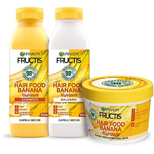 Garnier Fructis Hair Food Banana Nutriente, Kit con Shampoo, Balsamo e Maschera per Capelli Secchi, 98% di Ingredienti di Origine Naturale, Senza Siliconi