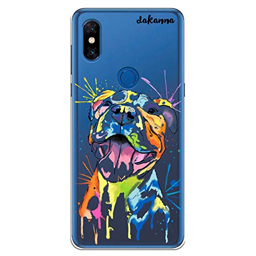 dakanna Funda para Xiaomi Mi Mix 3 | Perro Pitbull Watercolor | Carcasa de Gel Silicona Flexible | Fondo Transparente