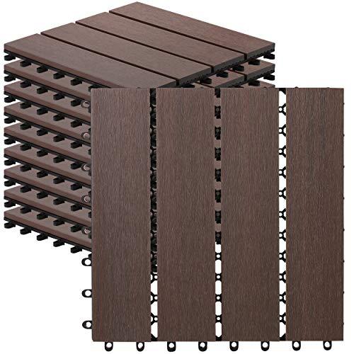 10 Count Interlocking Wood Plastic Composite Patio Deck Tiles Decking by CHR (Brazilian IPE)