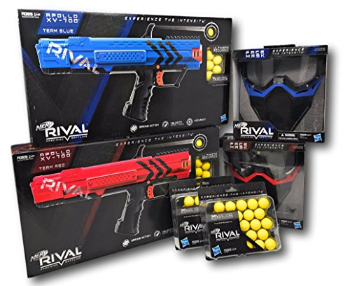 Nerf Rival Precision Battling Apollo XV-700 Red and Blue, Nerf Rival Face Mask Red and Blue, and Two Nerf Rival 25X High Impact Rounds Bundle
