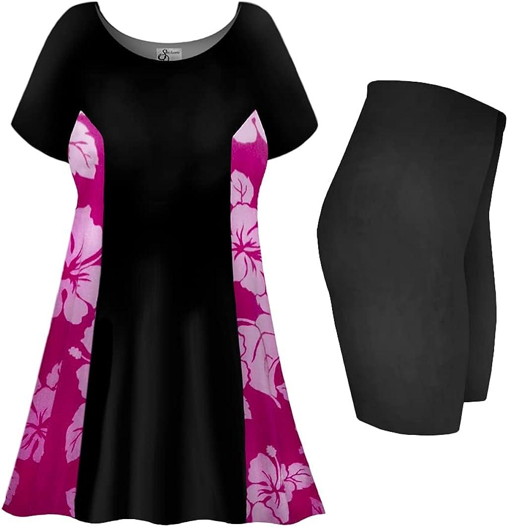 Plus Size Swimsuit 2-PC Princess Cut Swimdress Fuchsia Lehua Print