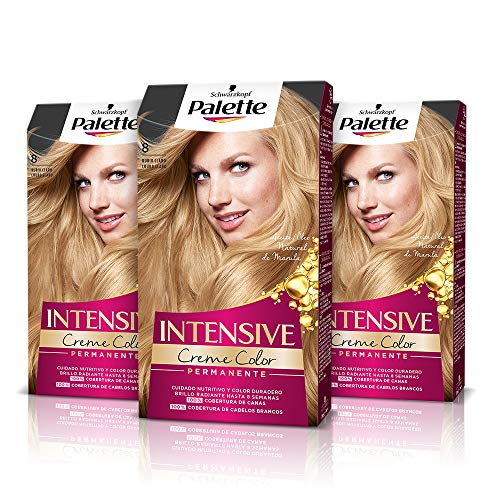 Palette Intense Cream Coloration Intensive Coloración del Cabello 8 Rubio Claro - Pack de 3