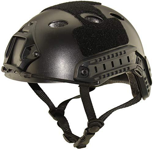 haoYK Mehrzweck-Sporthelm, Schutzhelm, taktischer Helm, Airsoft, Paintball, PJ Typ, Schnellhelm, Schwarz
