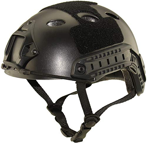 Haoyk, casco sportivo multiuso, elmetto tattico per Airsoft Paintball, tipo PJ, Nero