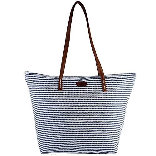 Strandtas XL Shopper Boodschappentas blauw wit gestreept Maritim Look schoudertas dames tas