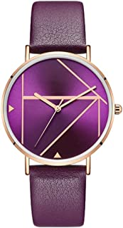 Waterproof Watch Red/Purple/Blue/Brown Woman Girl Lady Student Elementary Personality Quartz Watch Leather Strap Fashion Raincoat 3ATM Decoration 3ATM (Color : Purple)