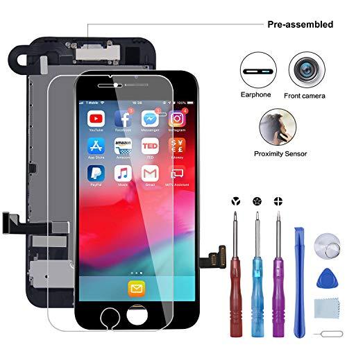 Beefix Schermo per iPhone 7 Completo Nero 4,7', LCD Display 3D Touch Screen Digitizer Parti di Ricambio con Strumenti di Riparazione e Protezione