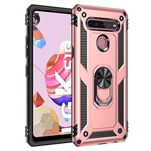 BestST Handyhülle für LG K51S + Bildschirmschutz, Cover für LG K51S hülle, 360 Grad Drehbar Ringhalter Handytasche Hülle für LG K51S Handy Hüllen,Rosegold