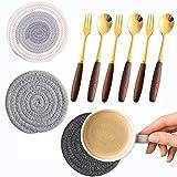 Cucharillas de café/Cuchara para postres Tenedor de postre Posavasos Set/Adecuado para sala de estar familia fiesta etc./9 Piezas