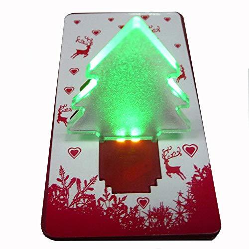 Tarjeta de árbol de Navidad LED creativa, tarjeta de luz de noche plegable para regalo perfecto (1 unidad)