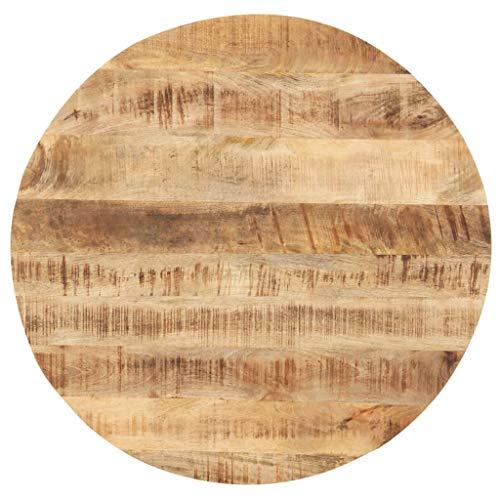 vidaXL Mangoholz Massiv Tischplatte Massivholzplatte Holzplatte Ersatztischplatte Holz Platte für Esstisch Esszimmertisch Rund 25-27mm 50cm