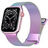 UHKZ Compatible with Apple Watch Band 38mm 40mm for Women Men,Stainless Steel Milanese Mesh Loop Magnetic Adjustable Strap Replacement for iWatch Series 6/5/4/3/2/1/SE,Colorful,38/40mm