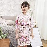 2020 Frühling Sommer Kinder Satin Roben Kimono Bademantel Kinder Blumendruck Mädchen Seide Bademantel Kinder V-Ausschnitt Schnür Nachthemd-Pink-6-11