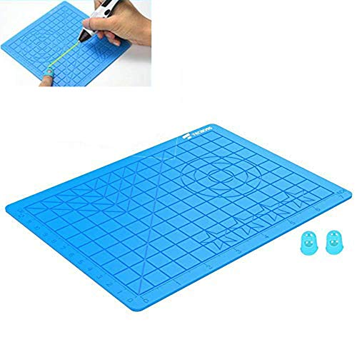 3D Pen Pad, 3D Pen Drawing Tool Silicone Pad, Silicone Pad con plantilla básica 2pcs Aislamiento Silicona Finger Caps Kit