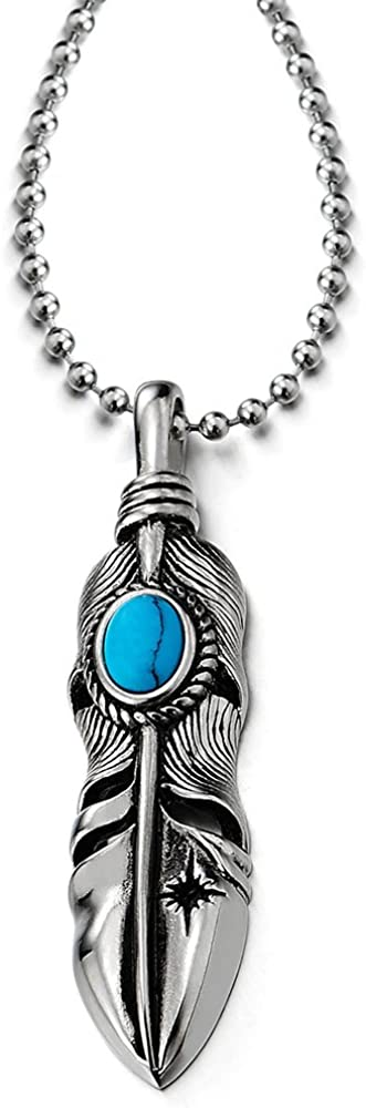 COOLSTEELANDBEYOND Retro Style Mens Womens Stainless Steel Feather Pendant Necklace with Turquoise, 23.6 inches Chain