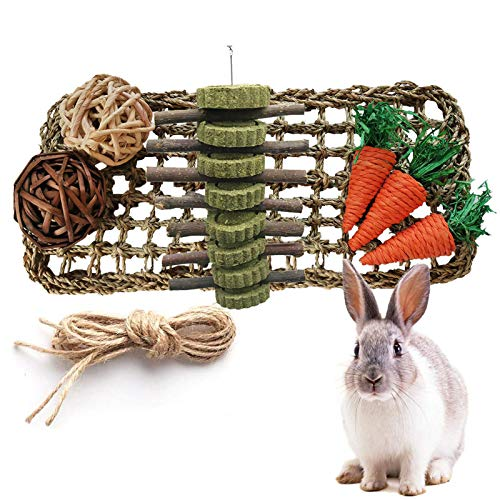 kathson Rabbit Activity Zone Bunny Chew Toy for Teeth Grinding Rabbit Toys Small Animal Play Ball Carrot Toy Natural Seagrass Protector Mat for Chinchilla Guinea Pigs or Other Rodent Pets