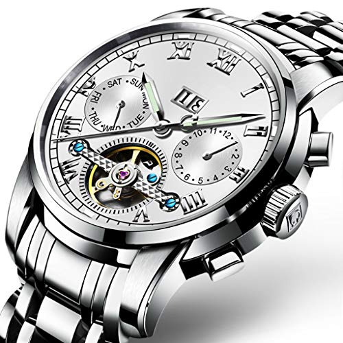 Orologio da Uomo con Display A Settimana/Data, Automatico Meccanico Orologi da Polso in Vetro Rivestito AntiGraffio White/Steel